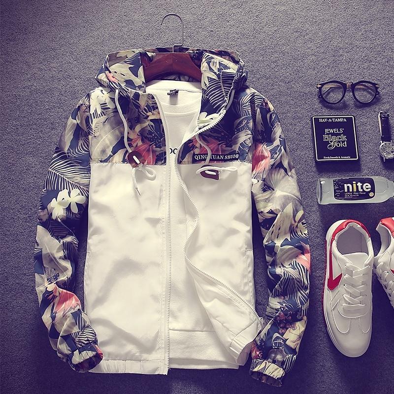 539916f593741 Floral Bomber Jacket Men Hip Hop Flowers Print Patchwork Hooded ...