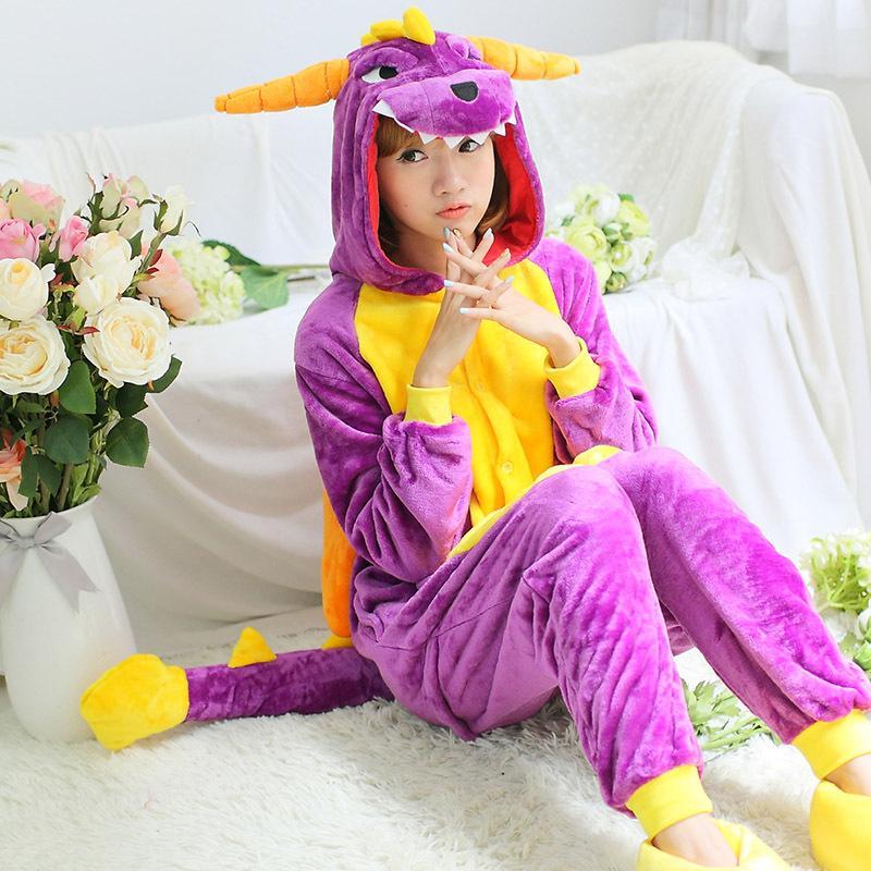 Wedtrend Purple Dinosaur Adult Onesies Flannel Pajamas Unisex Siamese Animal Sleepwear Warm Hooded Family Fitted Animal Pajamas