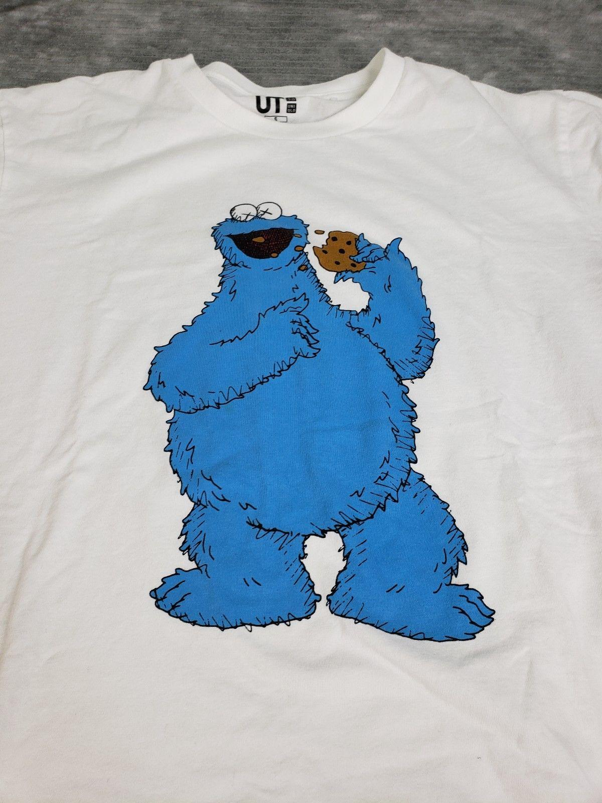 55c080f271a Details Zu UNIQLO KAWS X SESAME STREET T SHIRT COOKIE MONSTER WHITE Sz S  Guc Unisex Funny T Shirt Slogans Dirty T Shirts From Lukehappy12