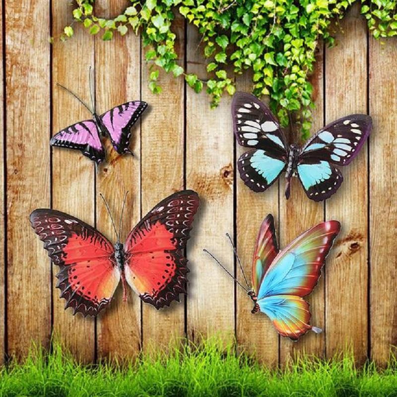 2019 Metal Colourful Butterflies Wall Art Garden Fence Home Ornament Decorations Background Decor Sculpture Plaque Pastoral From Hopestar168