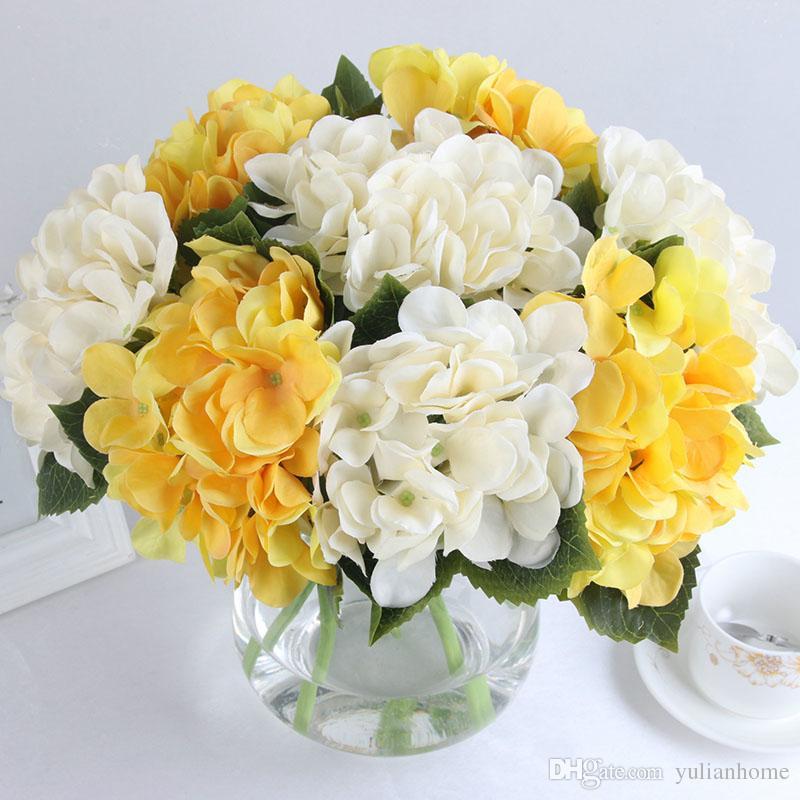 Yeni Varış 9 Renkler için 35.5 CM Uzunluk Ipek Yapay Ortanca Çiçekler Ev Düğün Dekorasyon Çiçek Buketi