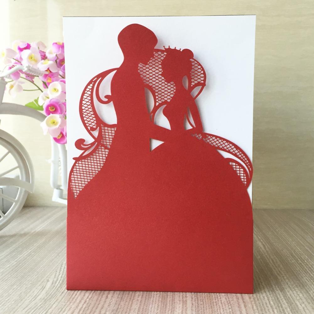 Laser Cut Pearl Paper Romantic Couple Wedding Invitations Cards ...