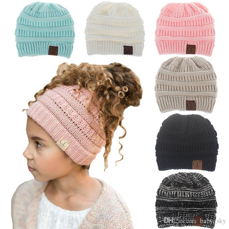 46ce143a8b2 2019 Girls Boys Beanie Warm Cute CC Hat Kids Fashion Knit Cap Mix Color Autumn  Winter Christmas Gift From Baby sky