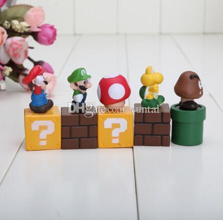 슈퍼 마리오 브라더스 / 세트 미니 피규어 번들 블록 Mario Goomba Luigi Koopa Troopa 버섯 PVC 완구 인형
