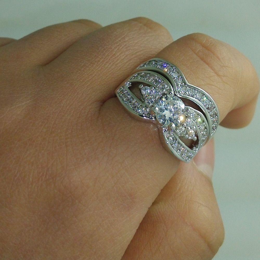 Clásico nupcial establece Diamonique Cz anillo de banda de boda de compromiso de oro blanco lleno para mujeres regalo de Navidad tamaño 5-10
