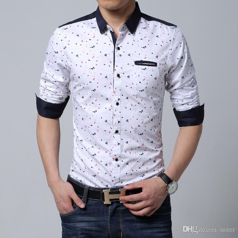 Compre Al Por Mayor Hombres De Manga Larga Camisa Casual Slim Fit Algodón  Impreso Hombre Negro Blanco Camisa Hombre Para Hombre Camisas De Vestir  Hombres ... 1a64cd8cc9272