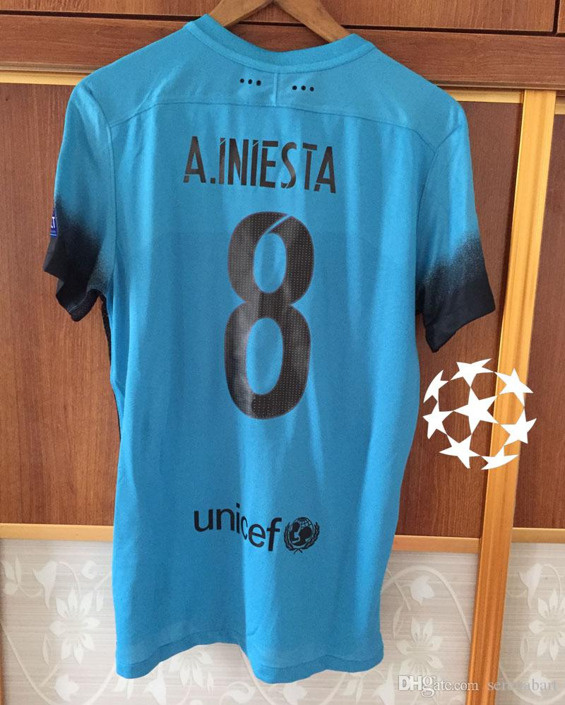 separation shoes f4235 9eb8b 2015 3rd Match Worn Player issue Jersey A.iniesta Messi Suares Neymar JR  With Champions League Patch Soccer Jersey Shirt