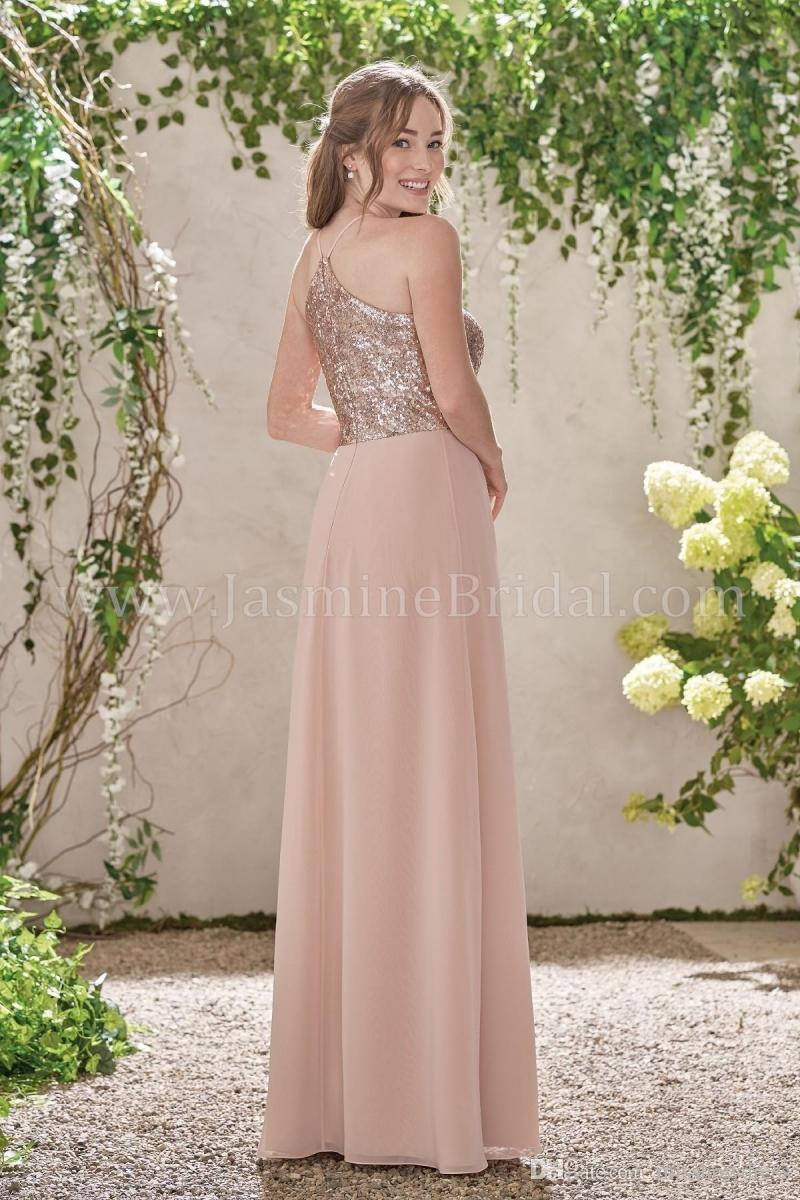 Elegante rosa de oro lentejuelas gasa vestidos largos de dama de honor cabestro sin espalda correas volantes boda invitado más el tamaño de dama de honor vestidos BM0154