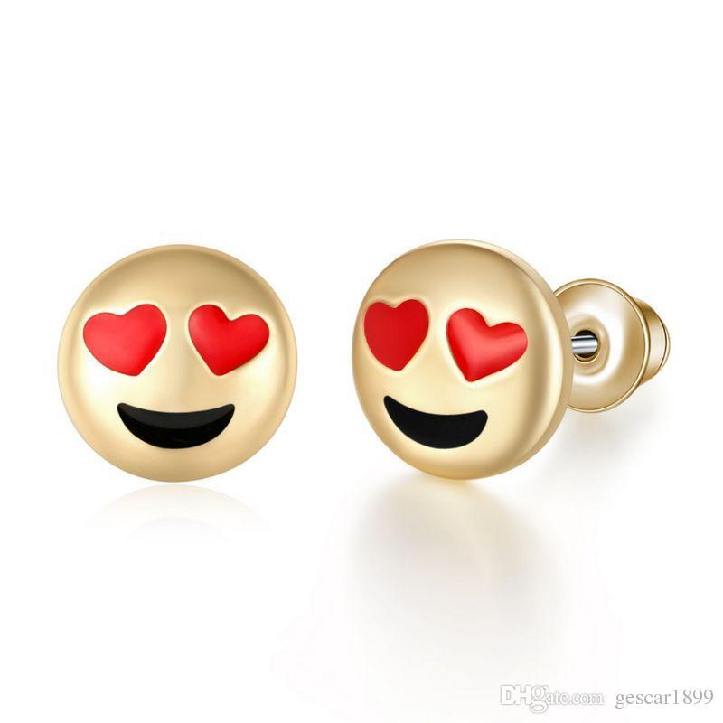 Venda quente 10 Estilos de Jóias Brincos Amor Emoji Smiley Face Do Parafuso Prisioneiro Do Parafuso Prisioneiro Da Orelha Liga Para As Mulheres