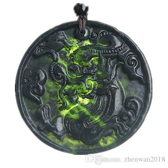 Mens Natural Green Hand-carved Dragon Jade Pendant necklace fqNXIi8Sm