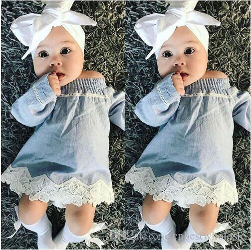 d912d024d Baby Clothes Girls Denim Lace Dresses Kids Clothing Fashion Ruffles ...