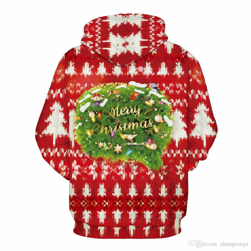 Factory price New style Christmas gift 3D digital printing thin Hoodies Unisex plush Lovers Spring Sweatshirts Loose type Baseball clothing