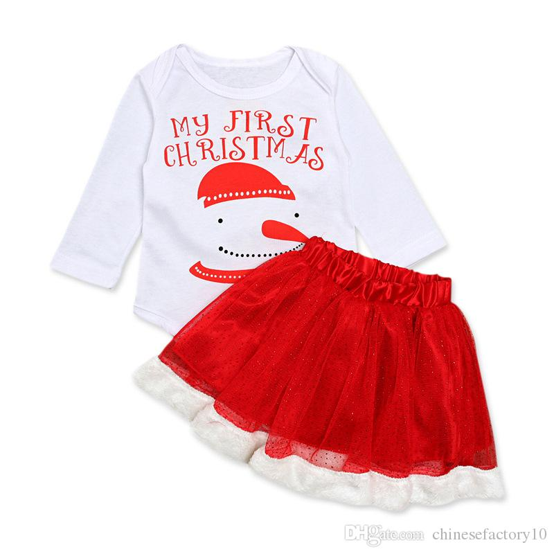 3c2988efad2 2019 Baby Girls Ins Christams Romper   Skirt Clothes Set Long Sleeves My  First Christmas Snowman Xmas Children Clothing Set From Chinesefactory10