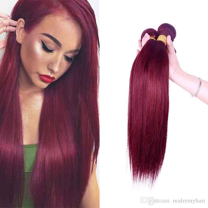 Passion Burgundy Malaysian Straight Virgin Hair Color 99j Malaysian