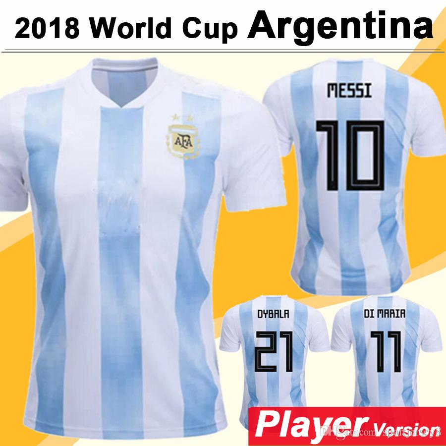 2018 Argentina MESSI Player Version Soccer Jersey World Cup DI MARIA Hombres Camisetas de fútbol DYBRLA National Team Home Blue Blanco Short Jerseys