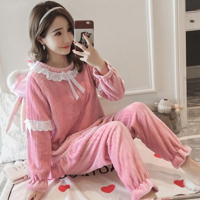 30a600c707 2018 Winter Thick Warm Mink Velvet Princess Pajama Sets for Women Long  Sleeve Flannel Pyjama Sweet Girls Lace Sleepwear Homewear Pajama Sets Cheap  Pajama ...