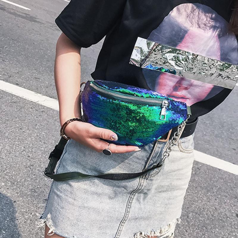 Girls Bling Sequins Waist Bag Double Color Sequins Makeup Bag ... 84e591371e38