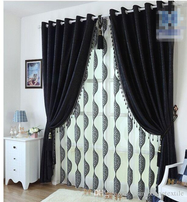 Tende ciniglia bianco e nero di spessore moderno camera da letto di lusso, tessuto tenda del soggiorno