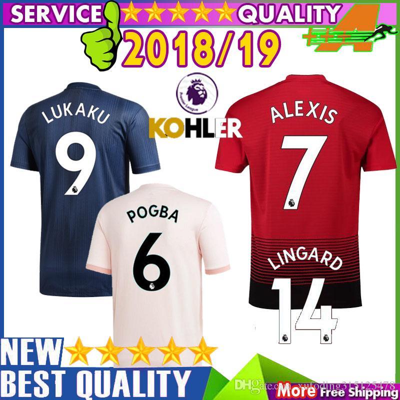3598171d5 Manchester United 18 19 Soccer Jersey LUKAKU LINGARD 2018 2019 ALEXIS Home  MATA MKHITARYAN RASHFORD Away Pink 3rd POGBA Football Shirt ALEXIS LINGARD  Soccer ...