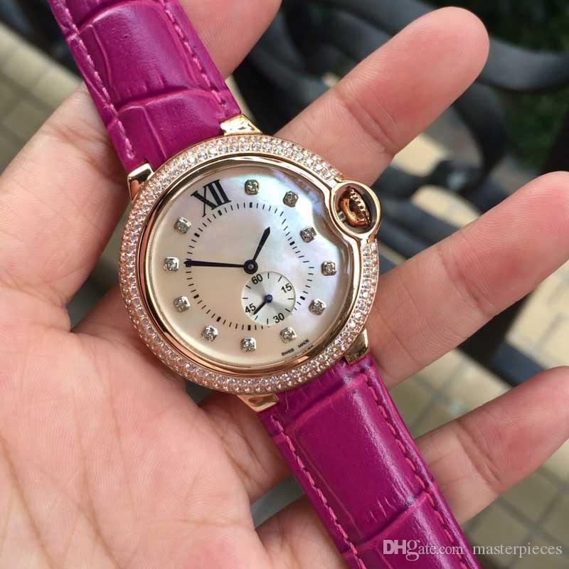 c3014e7d182 Compre Melhor Presente Para A Esposa Boa Qualidade Subiu Mulheres Relógios  De Ouro Senhoras De Couro De Luxo Relógio De Pulso Das Mulheres Vestido De  ...