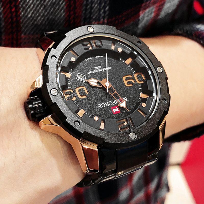 5d992432f00 Compre NAVIFORCE Moda Masculina Moda Quartz Relógio De Pulso Top Marca  Esporte Relógios Homens Relógio À Prova D  Água Masculino Relogio Masculino  De ...