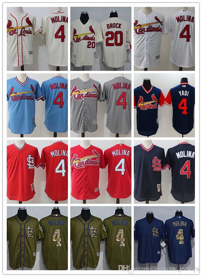 c7eac750 ... sale custom men women youth st. louis cardinals jersey 4 yadier molina  20 lou brock