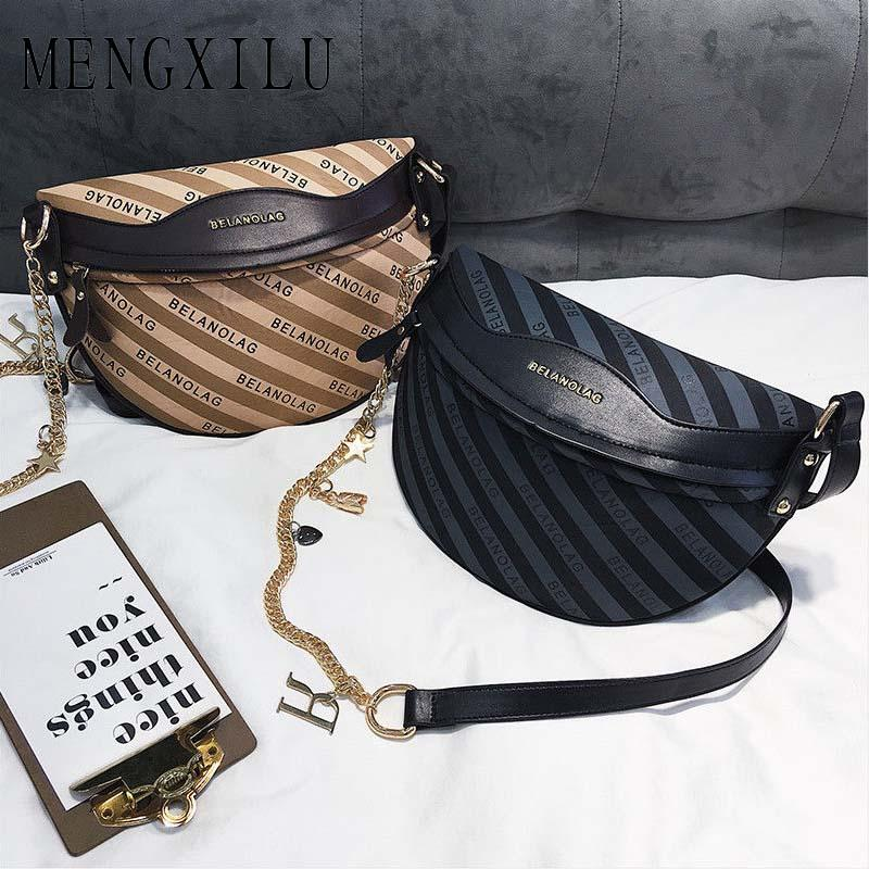 2018 New Striped Simple Shoulder Bag Women Fashion PU Leather ... 999c48c5f761