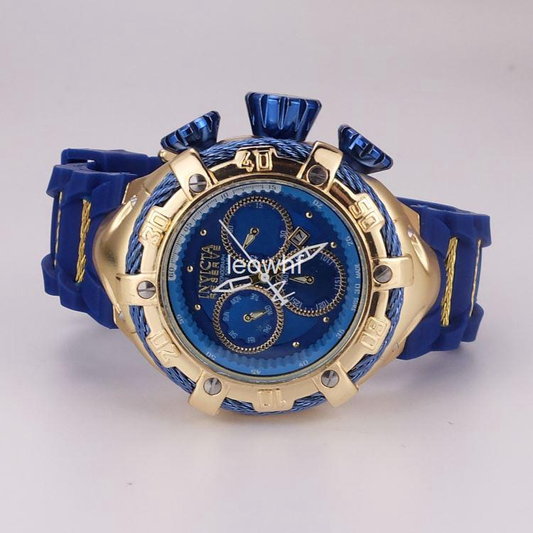 7d6ec2ac465 Compre Big Dial Invicta Relogio Parafuso Zeus Dourado Azul Na Caixa  Esportes Data Calendário De Quartzo Mens Relógios De Borracha De Silicone  Cinta Relógios ...