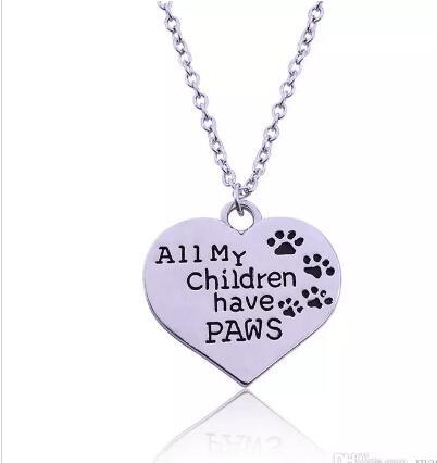 DHL All My Children Have Paws Letter Engraved Chain Necklace Pet Lover Dog Cat Paw Print Tag Silver Heart Pendant Necklaces