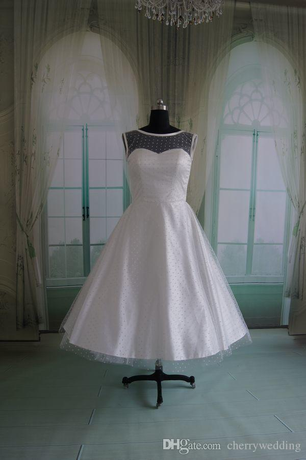 50s Polka Dot Wedding Dress Tea Length Bridal Gowns Plus Size
