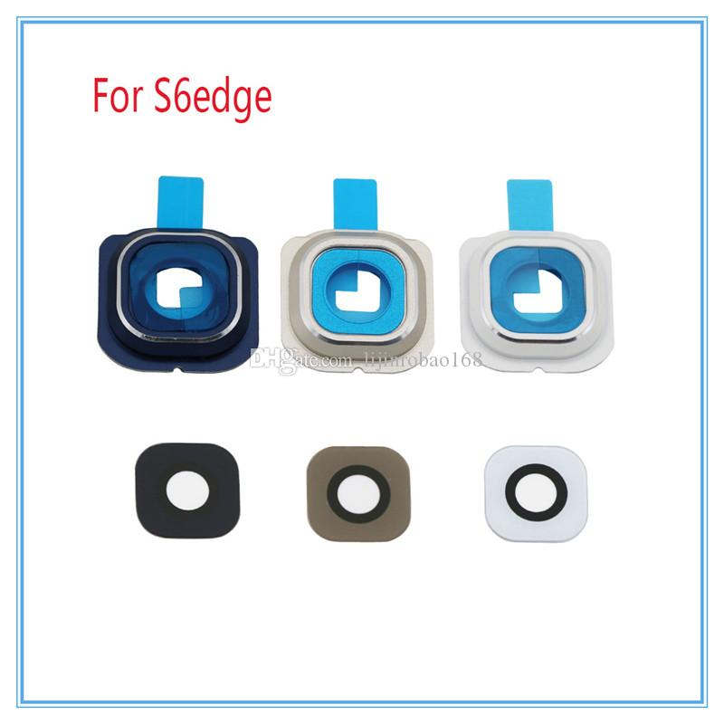 DHL For Samsung Galaxy S6 S6 edge Camera lens Rear Camera Frame + Glass Full Set Cover Circle Ring with Adhesive sticker