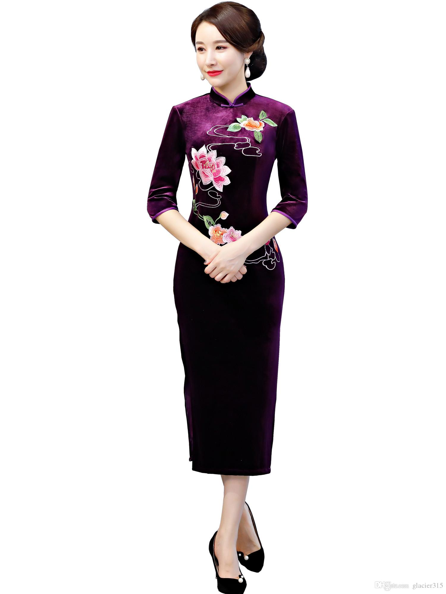 b0c6fdc82 Shanghai Story Lotus Embroidery Velvet Chinese Dress 3/4 Sleeve Qipao  Chinese Traditional Dress For Women Long Cheongsam Red Dresses For Prom  Sexy Chinese ...