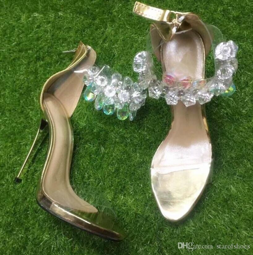 2018 Sandali sandali con diamanti Sandali in cristallo glitter Sandali estivi in pvc Sandali bling bling Scarpe da donna Tacco sottile