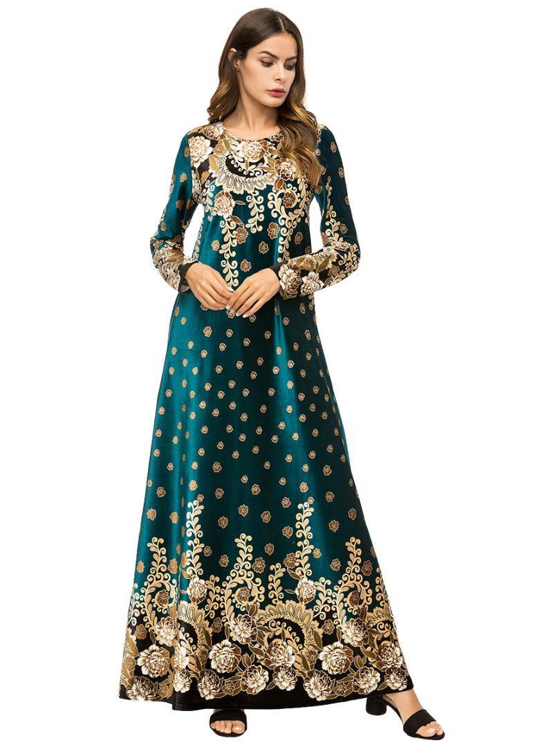 40789ba41404 Acquista Donne Musulmane Maniche Lunghe Ricamo In Velluto Dubai Vestito  Maxi Abaya Jalabiya Donne Islamiche Abbigliamento Veste Caftano Marocchino  7319 A ...