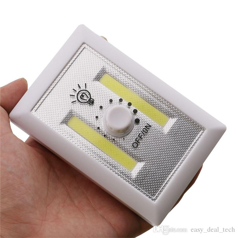 Magnetic Mini COB LED Cordless Light Switch Wall Night Lights Battery Operated Kitchen Cabinet Garage Closet Camp Emergency Lamp Q0401
