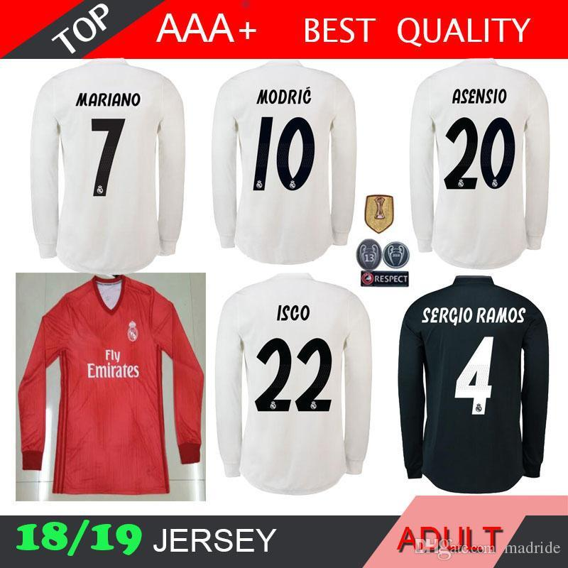 official photos 13773 bf775 Real madrid Long sleeve ASENSIO Soccer Jersey 2018 2019 isco MARIANO Modric  Kroos Sergio Ramos Bale 18 19 UCL 13 cups RED 3RD