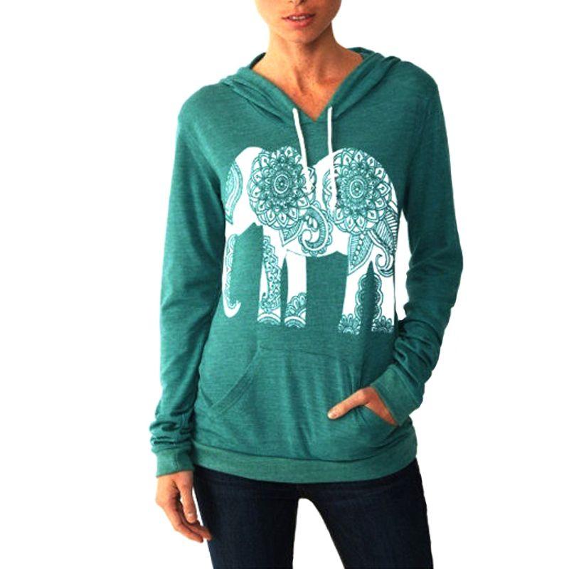5d981eb2246dcb 2019 Kawaii Elephant Print Sweatshirt 2018 Autumn Spring Hoodies Shirts  Pullovers Long Sleeve Basic Tops Women Sweatshirt Blusa GV439 From  Liasheng01