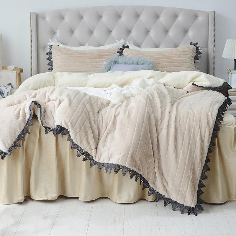 Rabbit Hair Bedding Set Winter Cashmere Thicken Fleece Bedclothes
