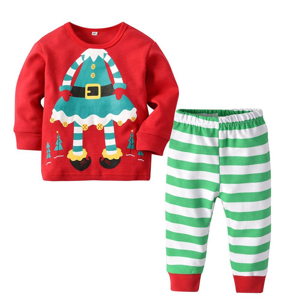 cf8da1dedf Christmas Santa Claus Children Boys Girls Cotton Pajamas Set Long Sleeve Toddler  Baby Kids Tops + Striped Pants Clothing Set Baby Girl Christmas Pajamas ...