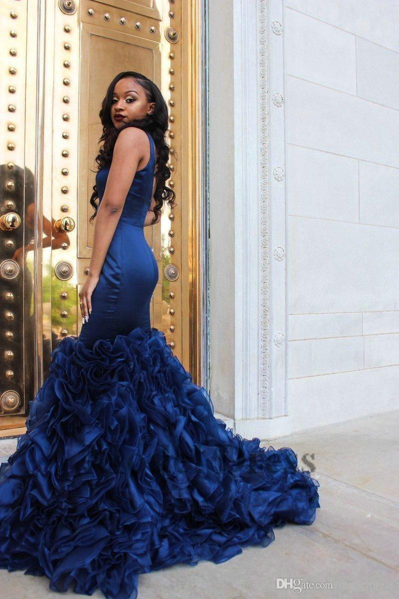 2018 Vintage Royal Blue Evening Dresses Tiered Ruffles Sexy Deep V Neck Backless Mermaid Organza Satin Formal African Evening Party Gowns
