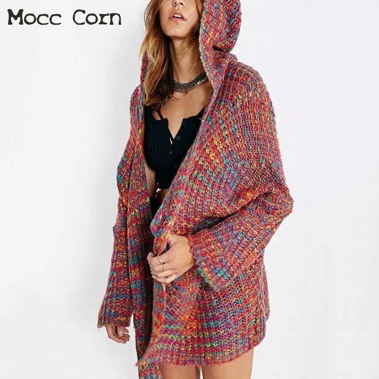 buy popular 3efe5 83bcf Mocc Mais warme Wolle Strickjacke mit Kapuze Frauen langen Mantel Winter  dicken Pullover Langarm Strickjacke Taschen große Größe Damen Kleidung
