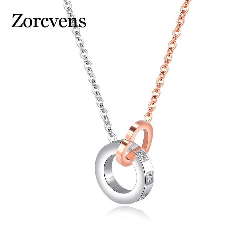 1d8d0c0a859 Acheter ZORCVENS Rose Or Couleur Inoxydable Coeur En Cercle ...