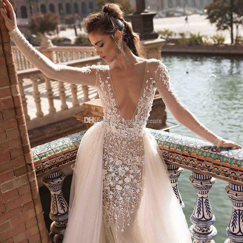 Berta Mermaid Backless Beach Wedding Dresses Deep V Neck Overskirt Long Sleeves Bohemian Bridal Gowns Tulle Plus Size Boho Vestidos De Novia