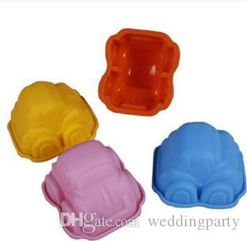 оптовые небольшие случаи булочки прессформы прессформы торта силикона формы автомобиля для ливня младенца