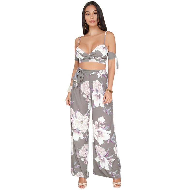 167bd84bc9 2019 Summer Women S Two Piece Sets Floral Print Crop Top And Pants Set Sexy  Sleeveless Boho Beachwear Women Set 2 Two Piece Outfits From Luzhenbao521