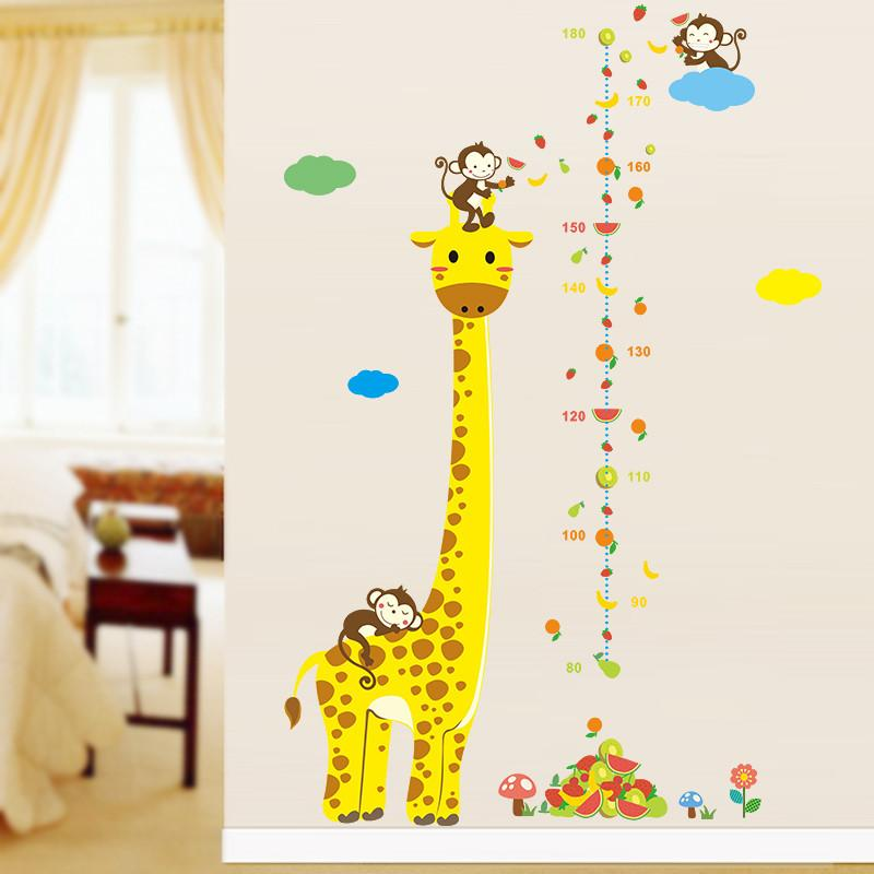 Cartoon Animal Giraffe Monkey Height Measure Wall Stickers For Kids Rooms Chart Ruler Decals Nursery Room Decoration Decal Bedroom