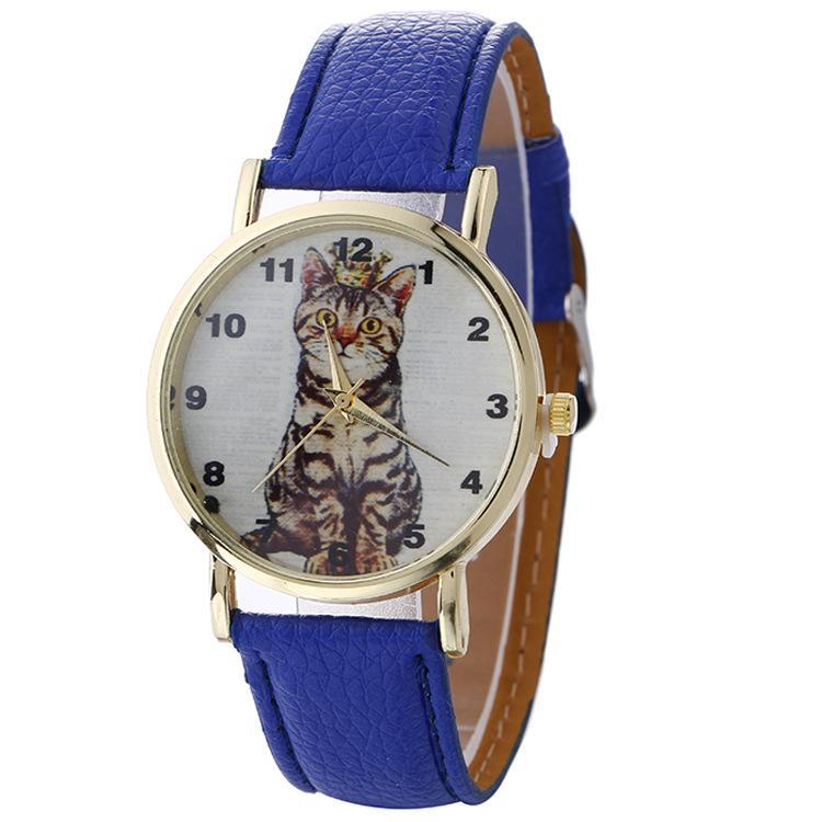 Joyería Cuero Relojes La Moda Estudiante Casual Cuarzo Pulsera De Cat Reloj Mujeres Para Pattern Yf6vbyg7