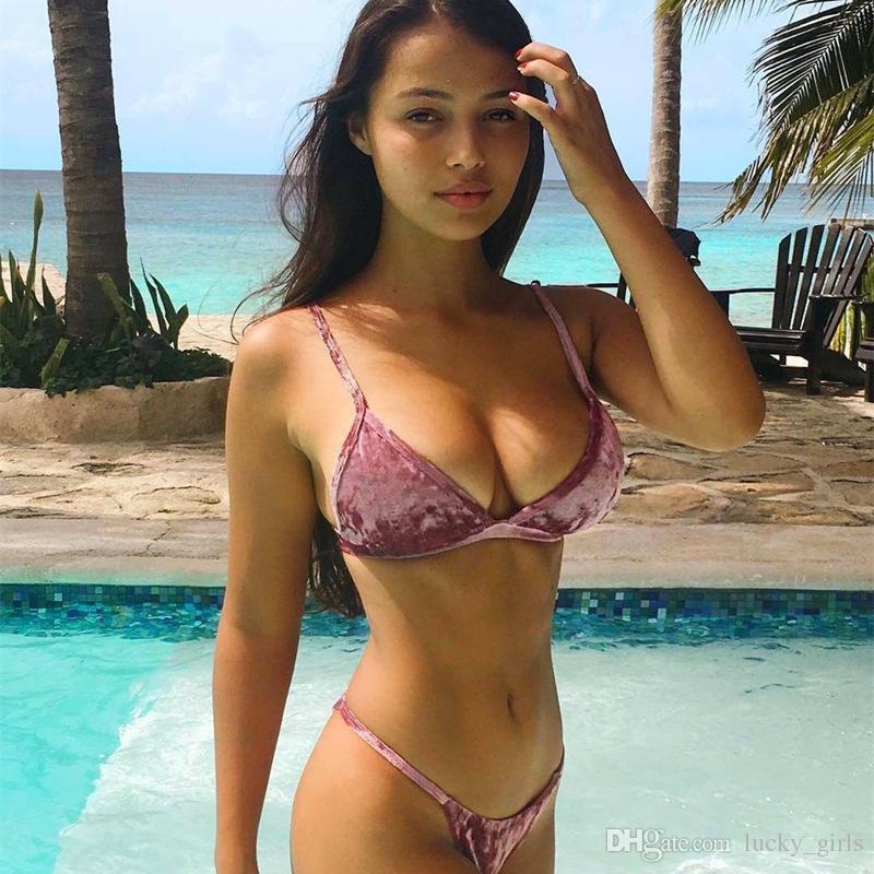 d1383a615 2019 Pink Blue Straps Brazilian Bikini 2018 Sexy Velvet Bikini Set Push Up  Swimsuit Solid Bikinis Women Swimwear Thong Swimming Suit Bathing Suit From  ...