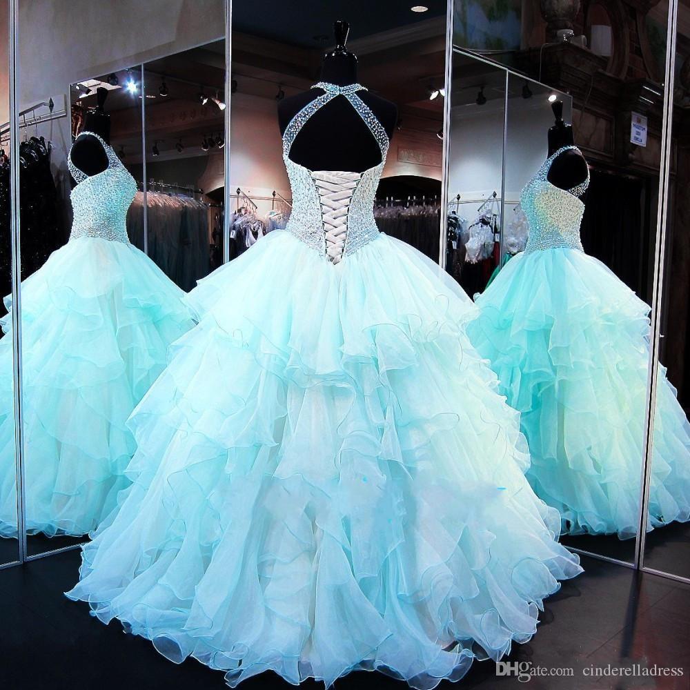 Principessa Oceano blu di sfera Quinceanera 2020 Sweet 16 Dresses Sequins in rilievo puro del collo Debuttante Abiti Plus Size Abiti De