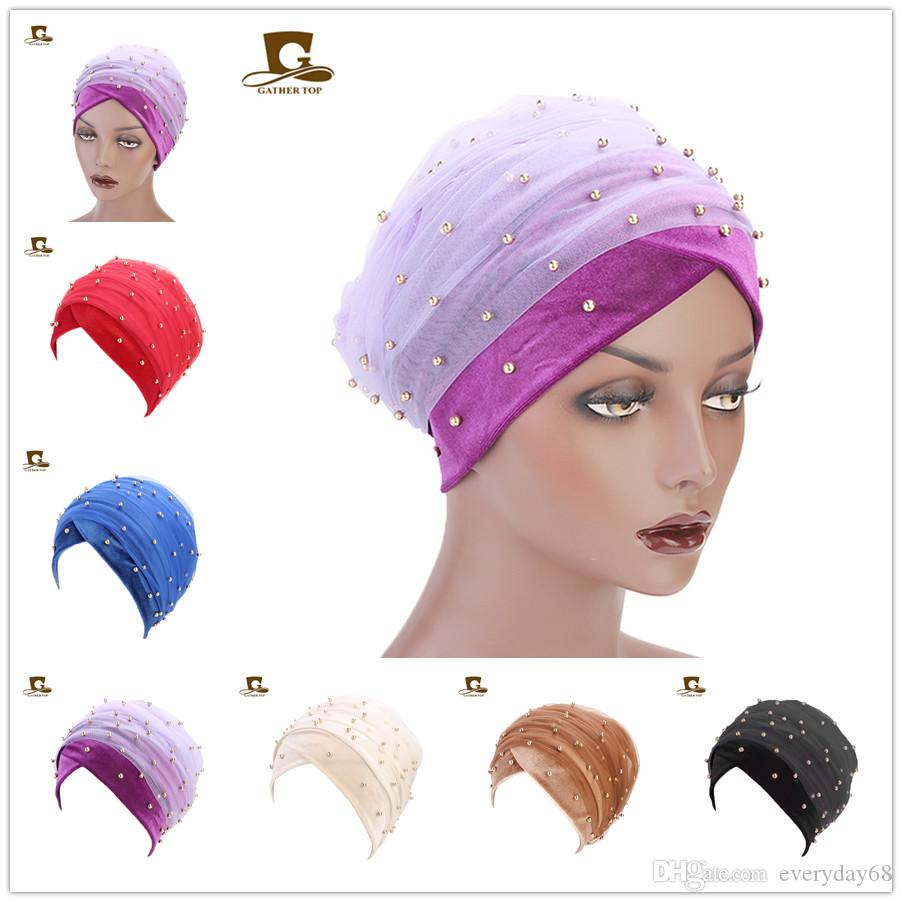 Elegant New Long tails Velvet head wrap hijab Lace Bandanas Turban headscarf beaded mesh Hair Accessories for Women Wedding